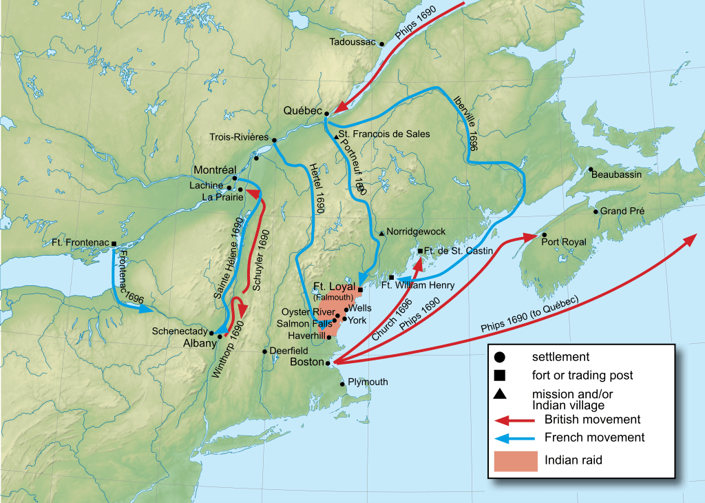 Map of the campaigns during King Williams war.